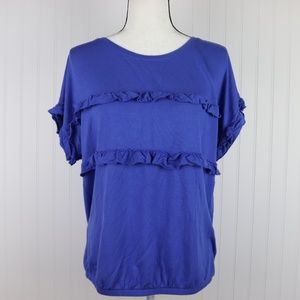 Maurices Short Sleeve Ruffled Top Size XL